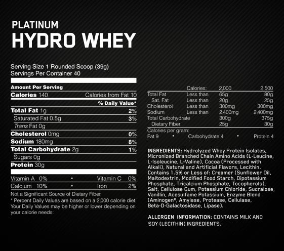 Platinum Hydrowhey nutricionalne vrijednosti